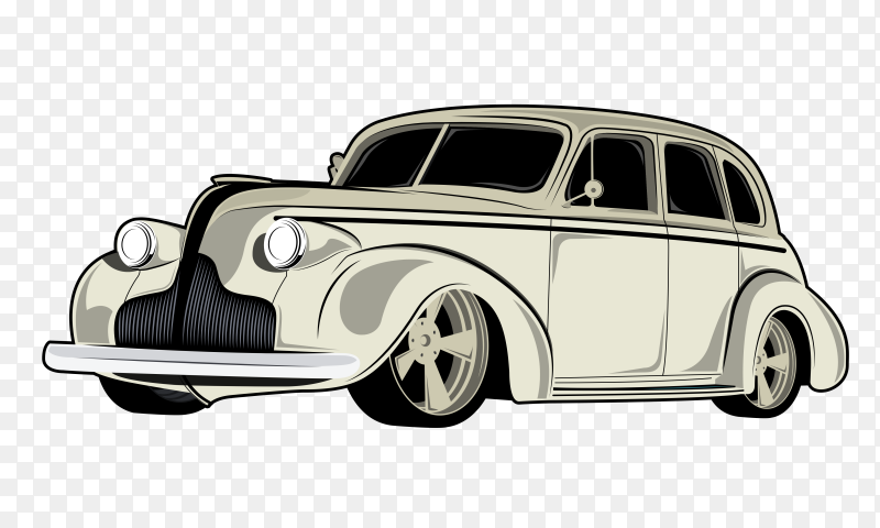 Show classic white cars illustrations on  transparent PNG