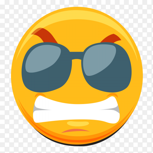 Silent emoji with sunglasses on transparent background PNG
