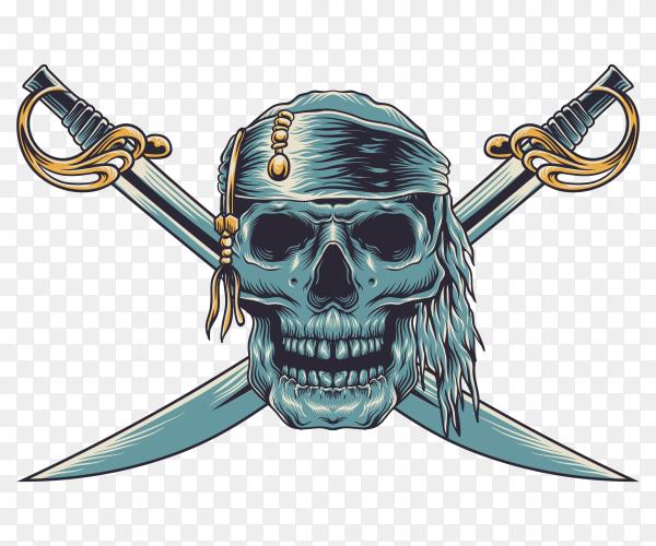 Skull pirate illustration on transparent PNG