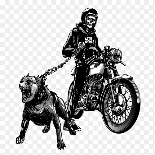 Skull riders with vintage motorcycle on transparent background PNG
