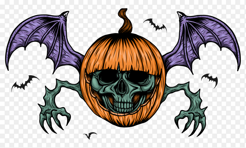 Skull with halloween pumpkin hand drawing vector PNG