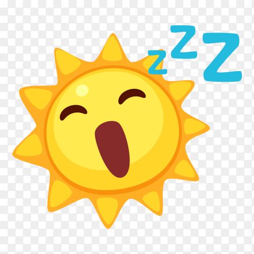 Sleep sun emoji vector PNG