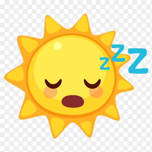 Sleeping sun emoji clip art PNG