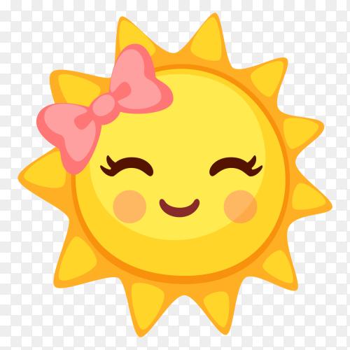 Slightly Smiling sun clip art PNG