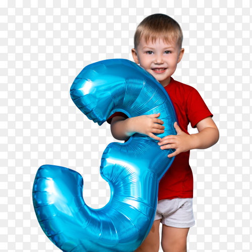 Small cute blonde boy holding balloon blue color happy birthday three years old images PNG