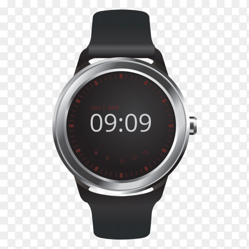 Smart watch with digital display vector PNG