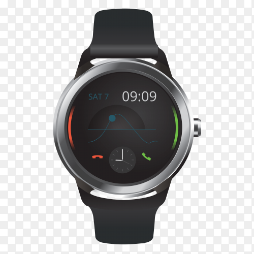 Smart watch with digital with transparent PNG