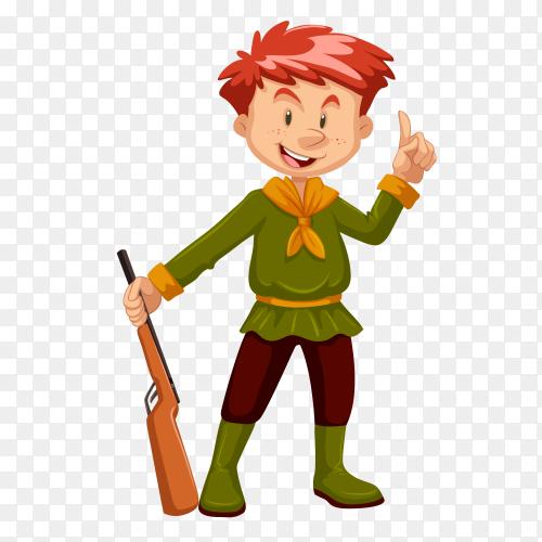 Smiling boy cartoon holding gun Clipart PNG