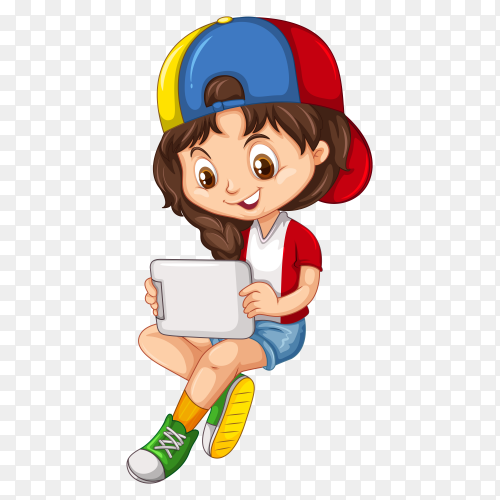 Smiling boy holding tab vector PNG