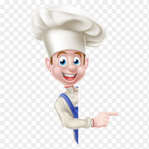 Smiling chef make a sign premium vector PNG