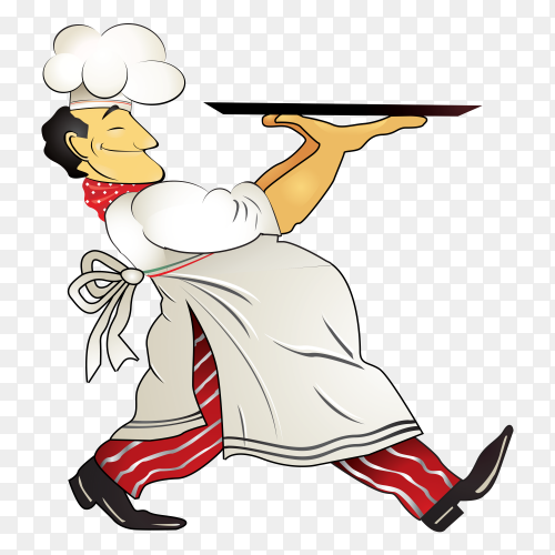 Smiling chef on transparent background PNG
