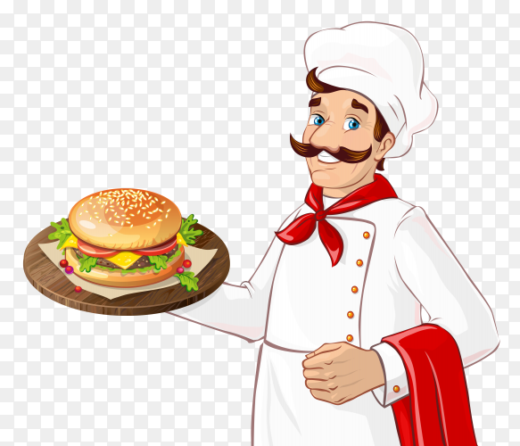 Smiling chef prepared burger sandwich Clip art PNG