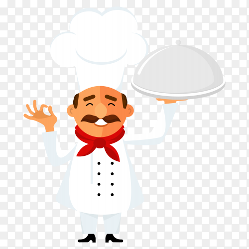 Smiling chef prepared happy meal vector PNG