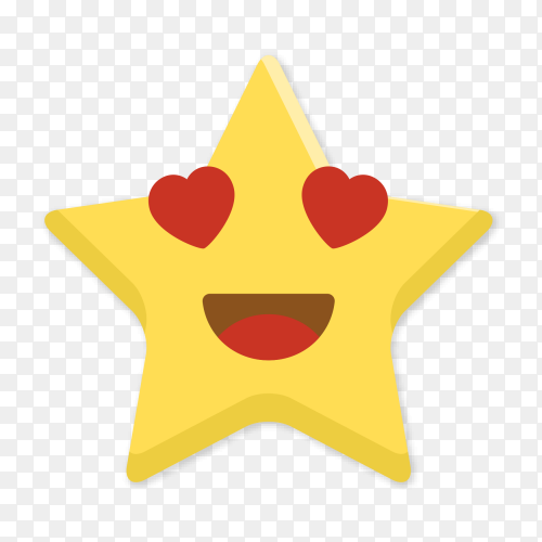 Smiling star emoji with hearts vector PNG