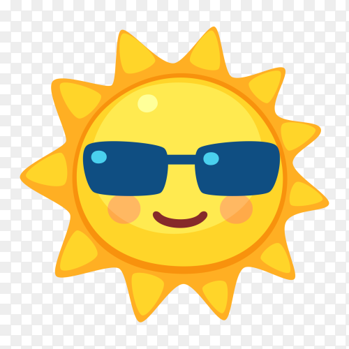 Smiling sun with sunglasses vector PNG