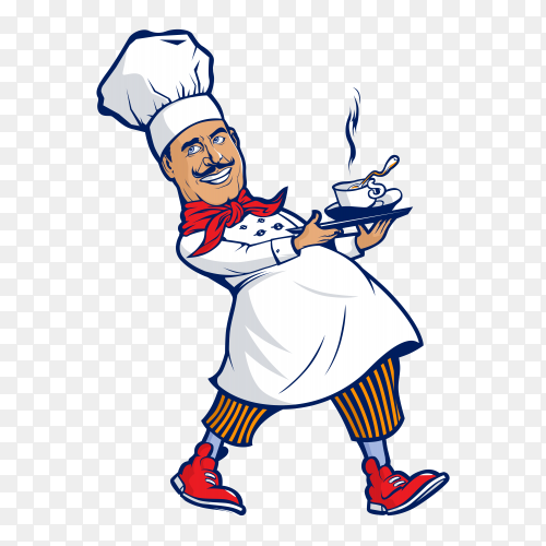 Smiling chef holding soup Vector PNG