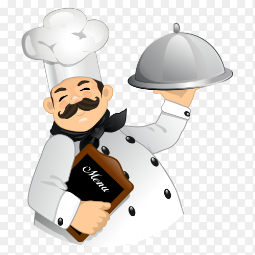 Smiling chef holding tray and menu on transparent PNG