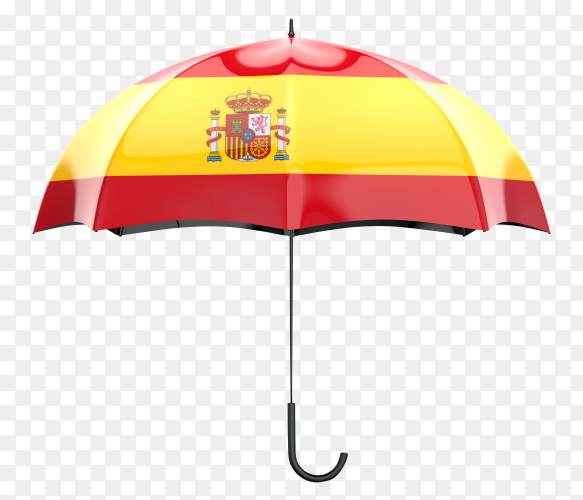 Spain flag shaped on an umbrella on transparent PNG