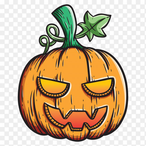 Spooky halloween pumpkin with cute colored outline vector PNG