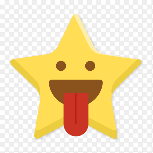 Squinting star emoji  with tongue Clip art PNG