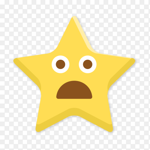 Star emoji with open mouth clip art PNG