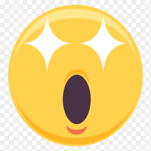 Star struck vector emoji with open mouth on transparent PNG