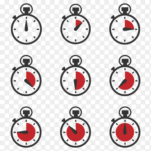 Stopwatch icons on transparent PNG