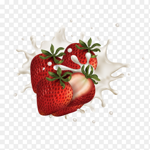 Strawberry Wave Milk Illustrations vector PNG