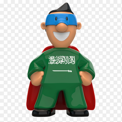 Sudia Arabia flag shaped on super hero on transparent background PNG