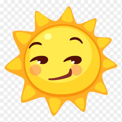 Sun Face Savoring Food vector PNG