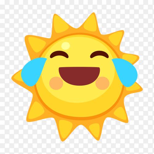 Sun emoji with Tears of Joy vector PNG