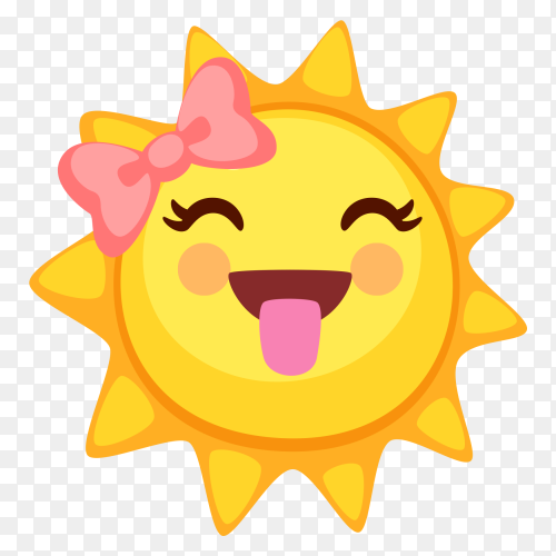 Sun emoji with tongue clip art PNG