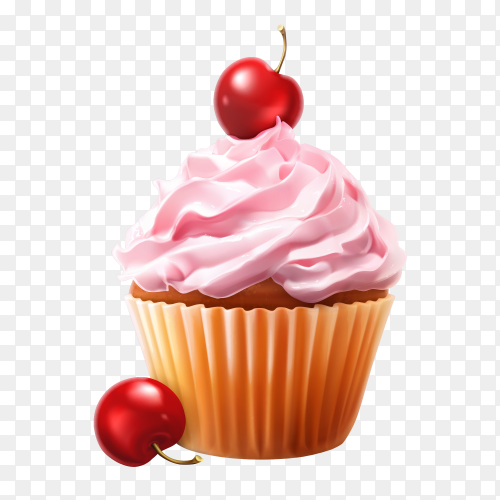Sweet Pink cupcake on transparent PNG