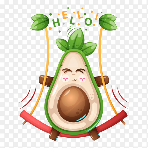 Swing avocado vector transparent PNG