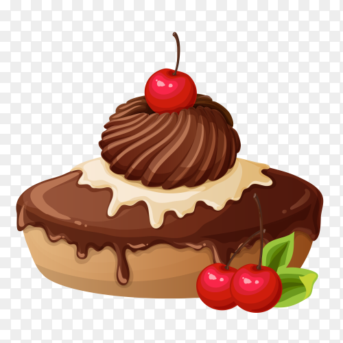 Tasty cake with chocolate on transparent PNG
