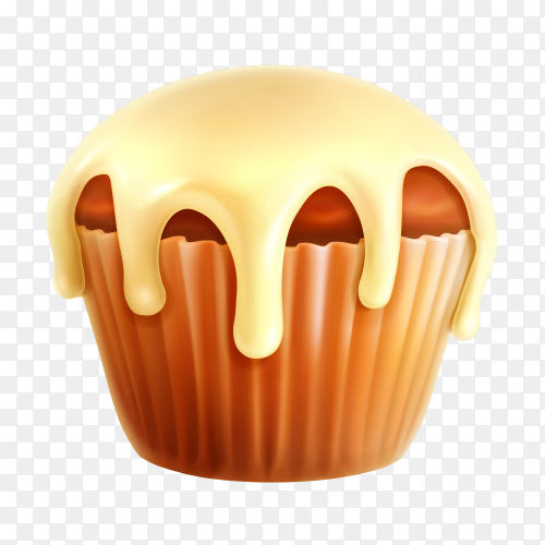 Tasty cupcake on transparent PNG