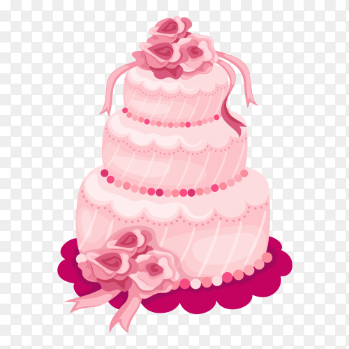 Tasty pink cake on transparent PNG