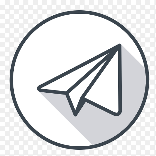 Telegram logo gray color vector PNG