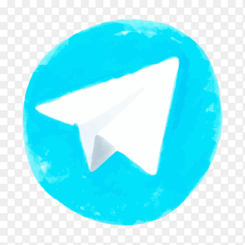 Telegram logo icon social media hand drawn vector PNG