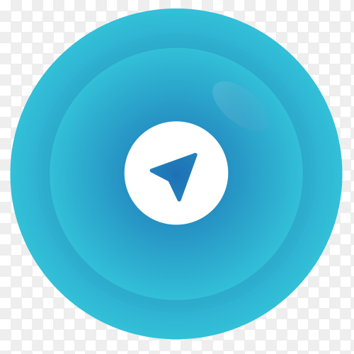 Telegram logo in gradient circle vector PNG