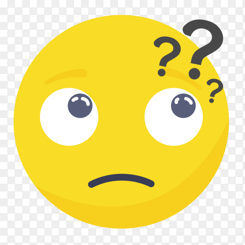 Thinking emoji face vector PNG