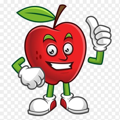 Thumb up apple mascot vector PNG