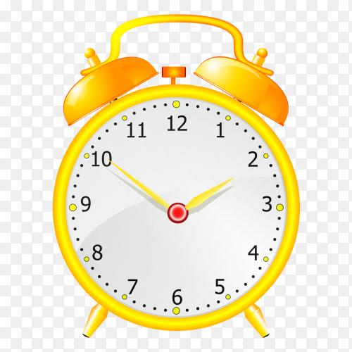 Time alarm clock yellow vector PNG