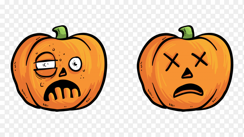 Tired pumpkin faces on transparent background PNG