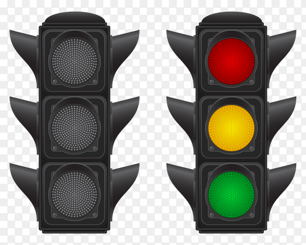Traffic lights cars vector illustration with transparent PNG