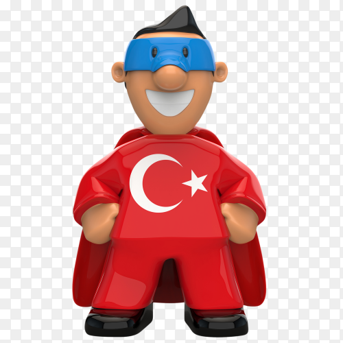 Turkey flag shaped on super hero on transparent background PNG
