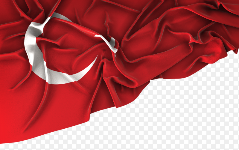Turkey flag vintage waving on transparent background PNG