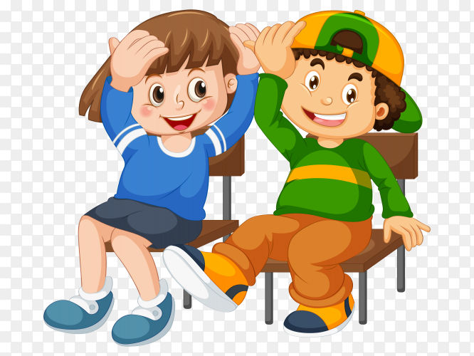 Two boys sitting on wooden chair vector PNG