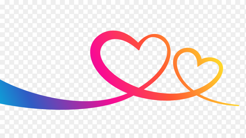 Two hearts relationship on transparent PNG