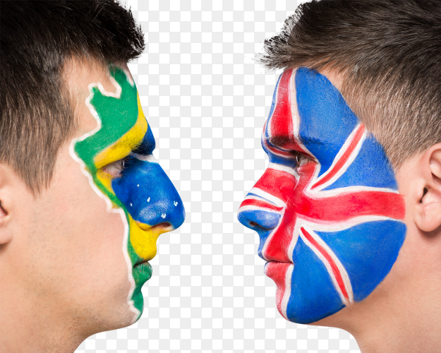 Two men faces with painted brazilian and british flags on transparent PNG